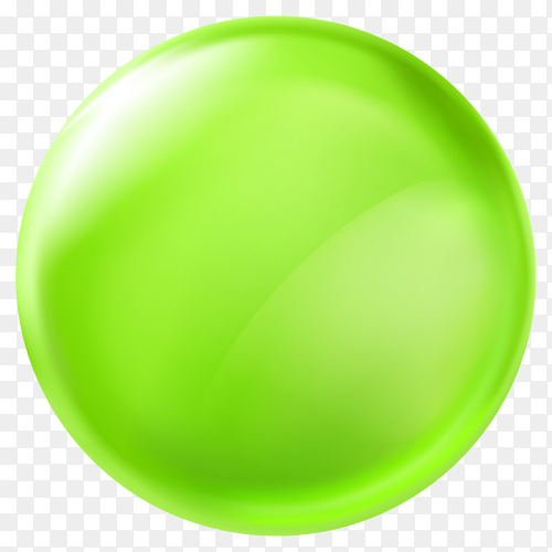 3D design element – glossy button green PNG