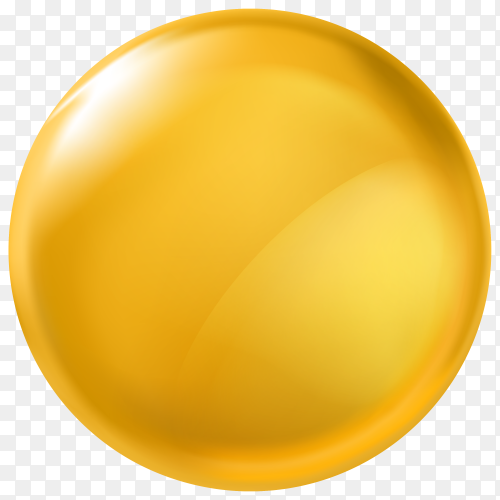 3D design element – glossy button yellow PNG