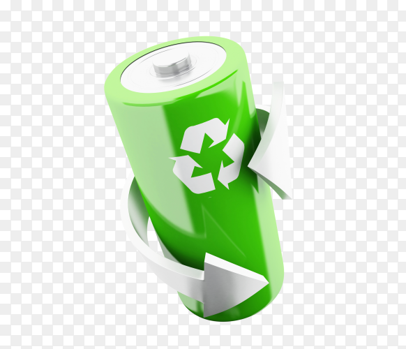 3d green battery with recycling symbol PNG
