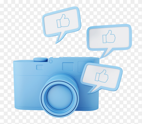 3d photo camera with thumbs up pin – social network PNG