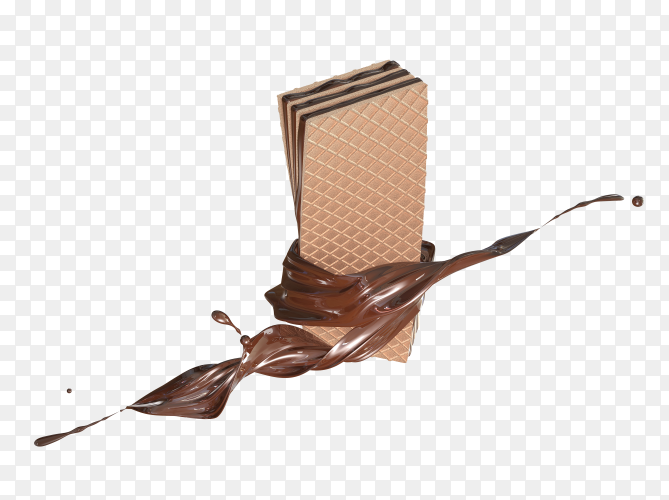 3D render cream of chocolate fold chocolate crispy wafer PNG