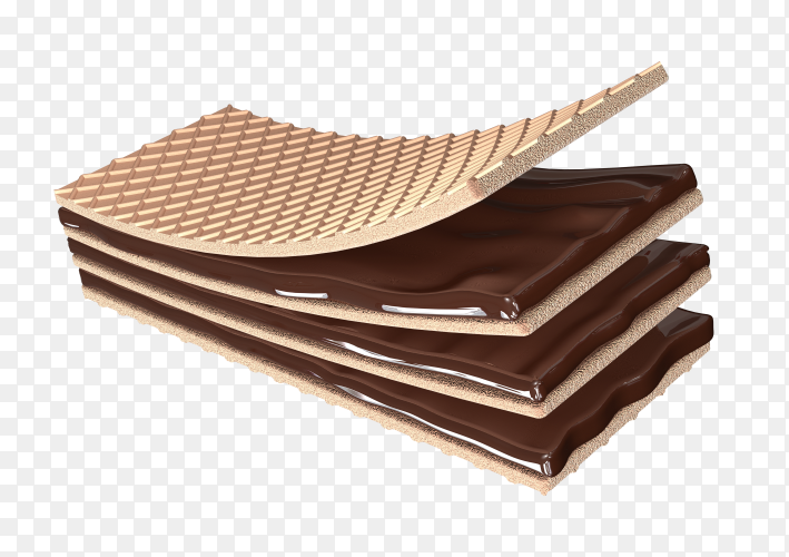 3D render crispy wafer chocolate PNG