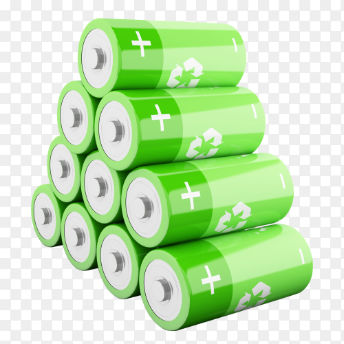 3d green batteries with recycling symbol PNG