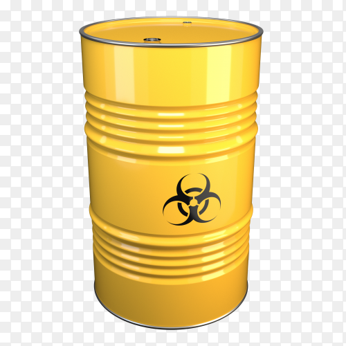 Yellow steel barrel with bacteriological danger Tank PNG