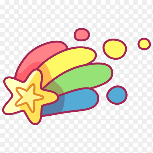Cute design with colorful star PNG