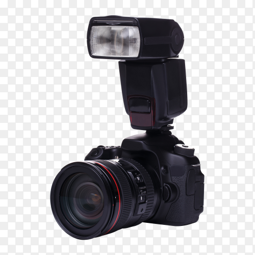 DSLR camera with flash PNG