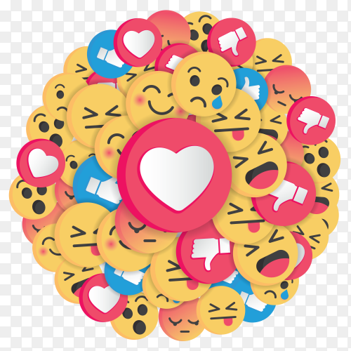 Circle Of Emojis with different characters and expressions PNG