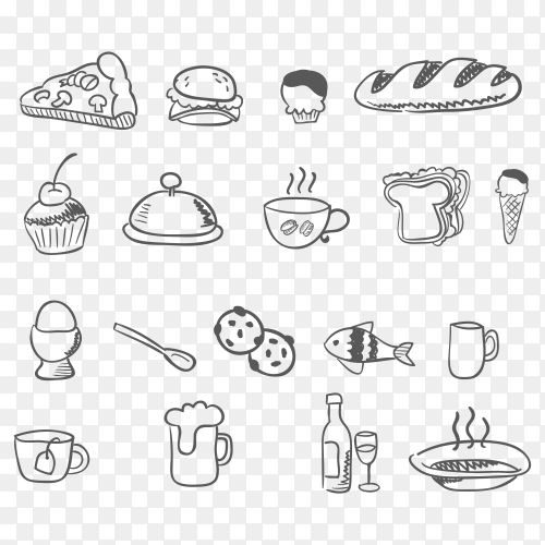 Doodle food icons Vector PNG