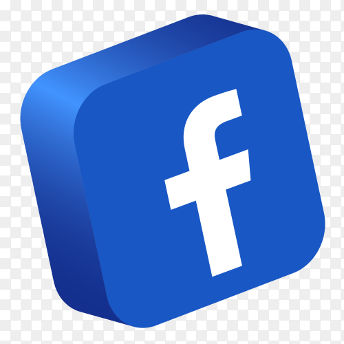 Facebook logo 3d button PNG