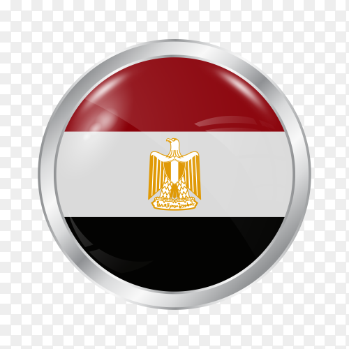 Flag Arab Republic of Egypt in silver circle PNG