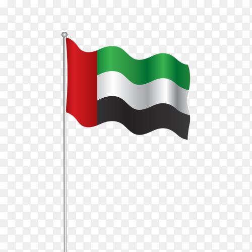 Flag fluttering United Arab Emirates UAE PNG