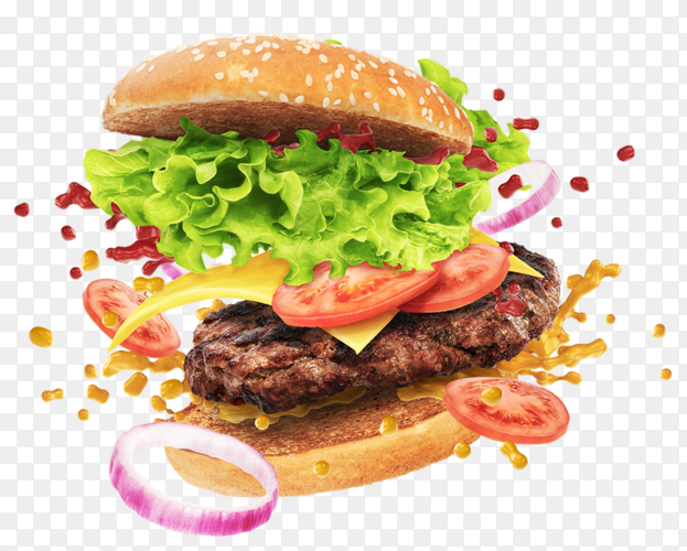 Floating burger PNG