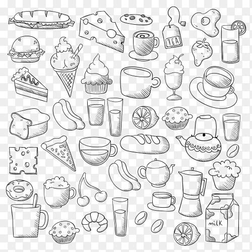 Food doodle set Vector PNG