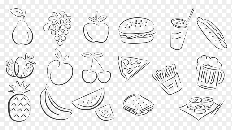 Hand drawn style of foods doodle elements PNG