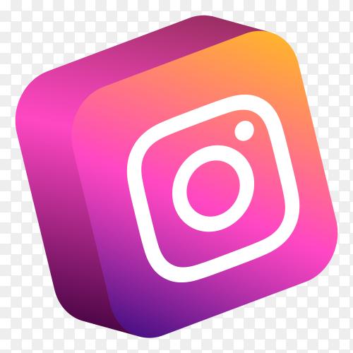 Instagram logo 3d button PNG