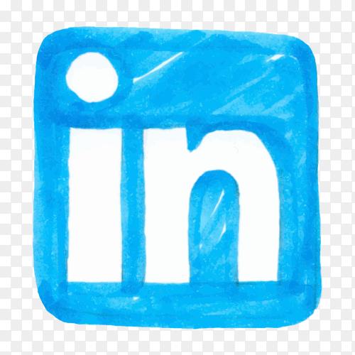 LinkedIn logo icon social media hand drawn PNG