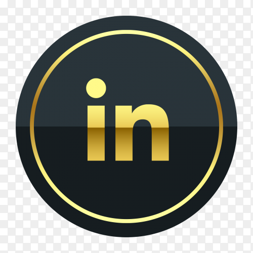 Linkedin logo premium of golden social media PNG