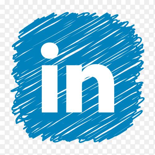 Linkedin logo scribble social media icon PNG