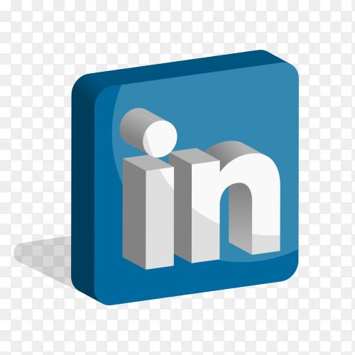 Linkedin logo social media 3D PNG