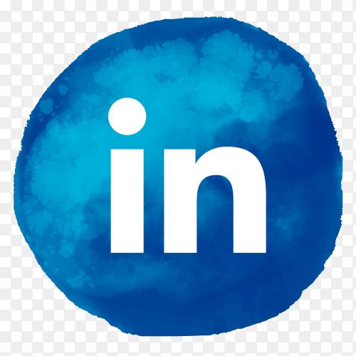 Linkedin logo watercolor style social media PNG