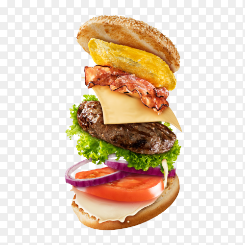 Maxi hamburger with flying ingredients PNG