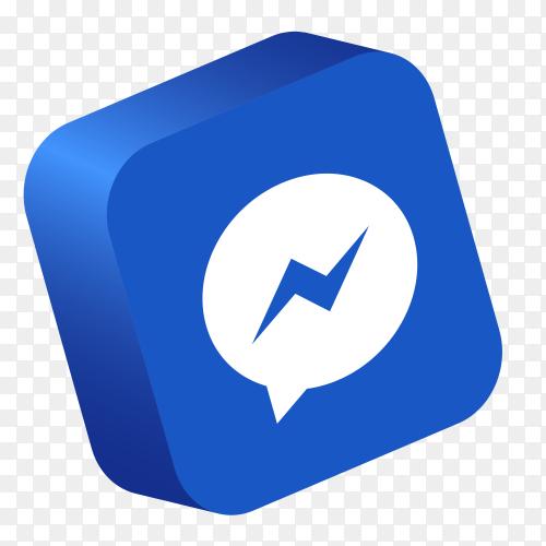 Messenger logo 3D button social media PNG