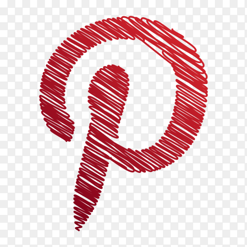 Pinterest logo creative scribble sketch style PNG