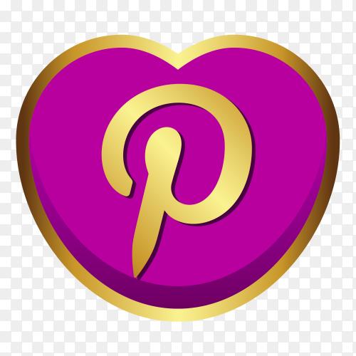 Pinterest logo golden heart social media PNG