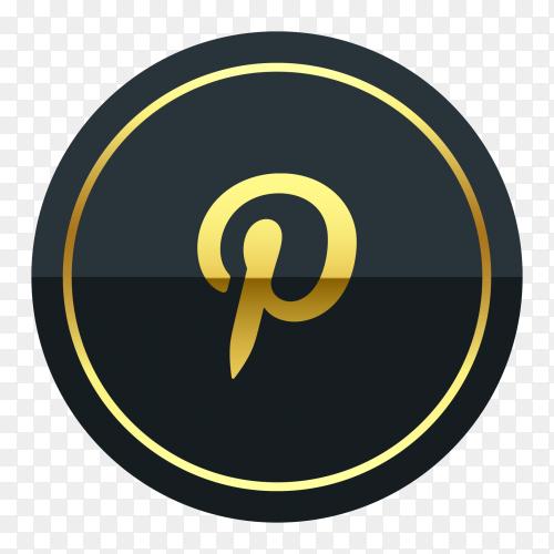 Pinterest logo premium of golden social media PNG