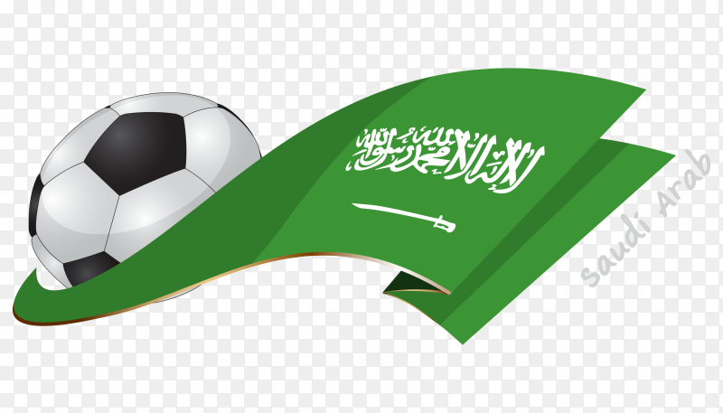 Saudi Arabia flag with ball PNG