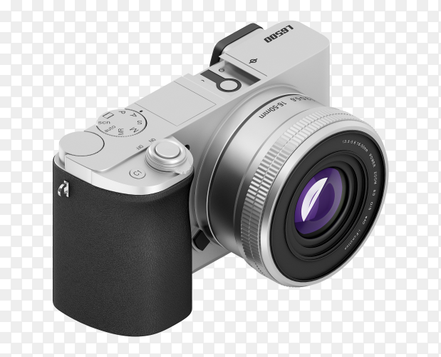 Silver digital camera 3D PNG