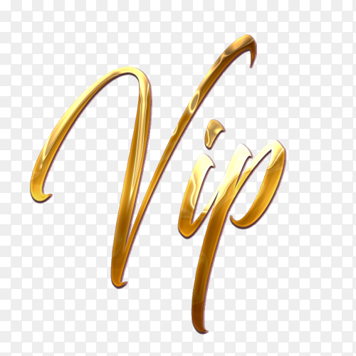 VIP Stylish golden text PNG