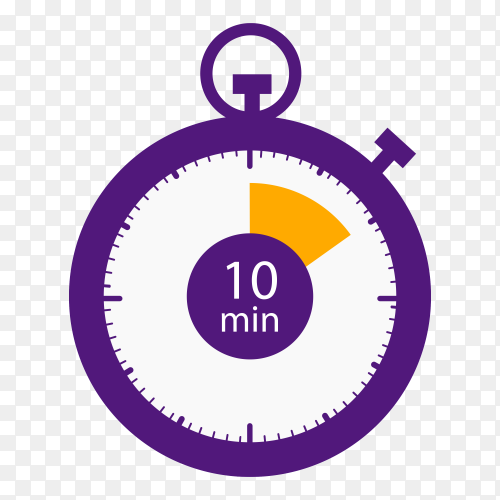 Stopwatch icon 10 minutes vector PNG