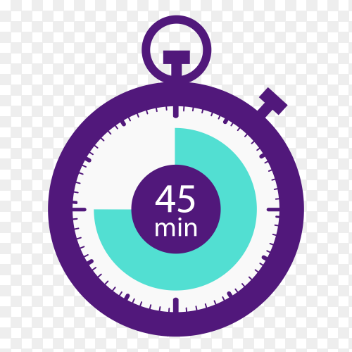 Stopwatch icon 45 minutes vector PNG
