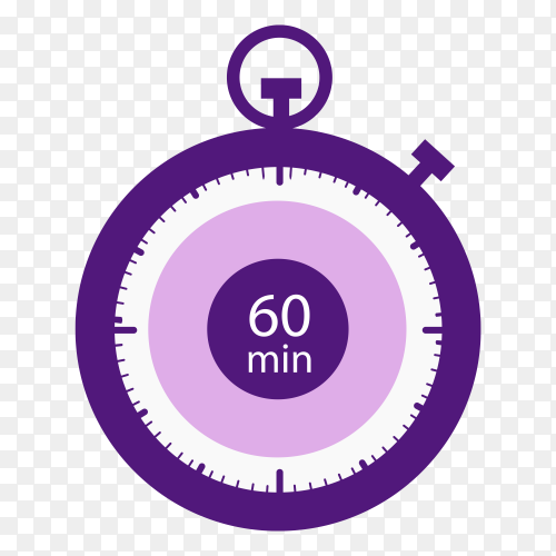 Stopwatch icon 60 minutes vector PNG
