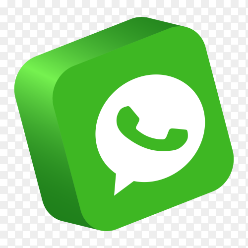 WhatsApp logo 3d button social media PNG