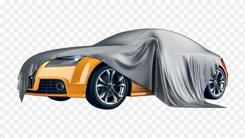 Yellow car covered in fabric PNG