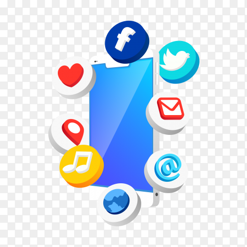 Antigravity mobile phone with social media icons PNG
