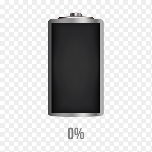 Battery 0% charging load status PNG