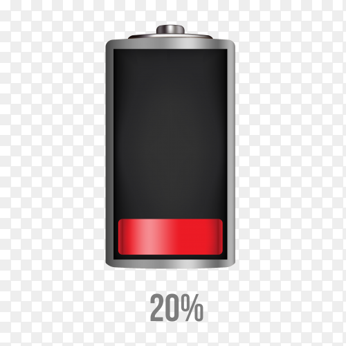 Battery 20% charging load status PNG
