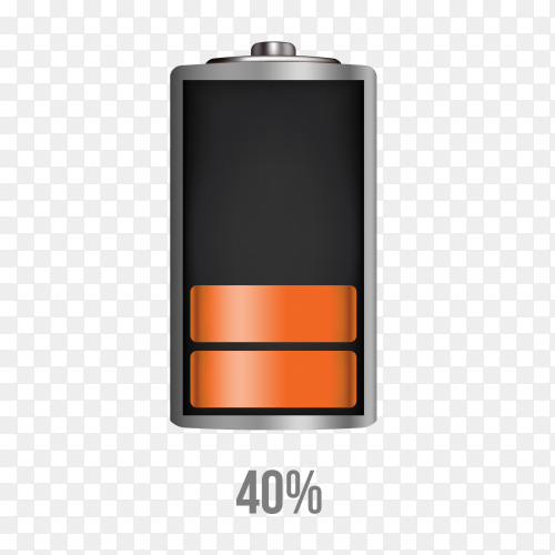 Battery 40% charging load status PNG