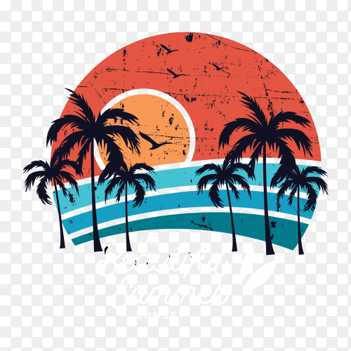 Beautiful summer sunset t-shirt design PNG