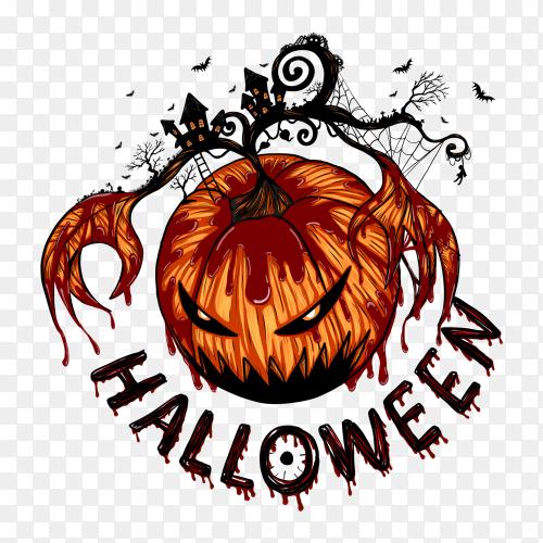 Big ghost pumpkin in halloween PNG