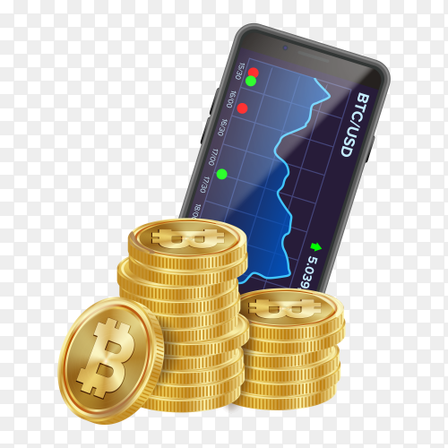 Smartphone with bitcoin trading chart PNG