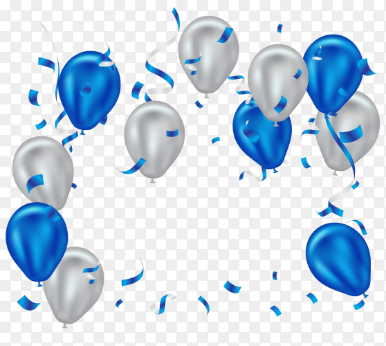 Blue and white helium balloon PNG