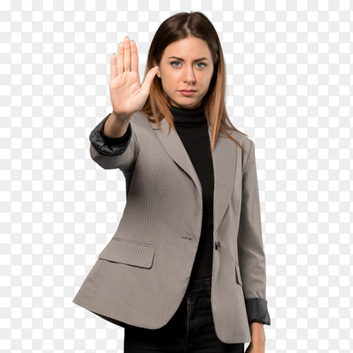 Business woman making stop gesture PNG