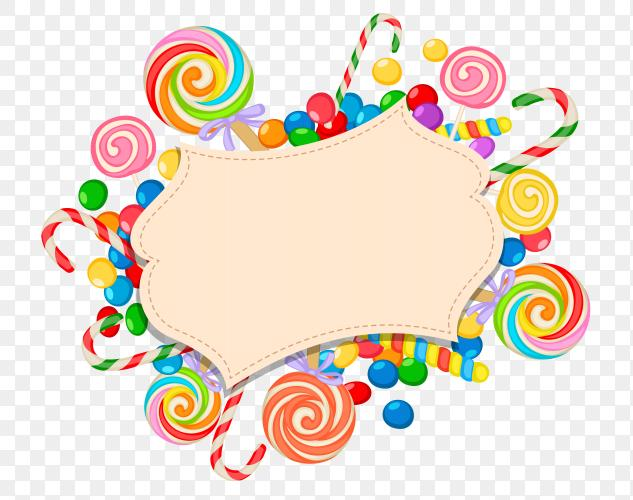 Candy theme blank greeting card PNG