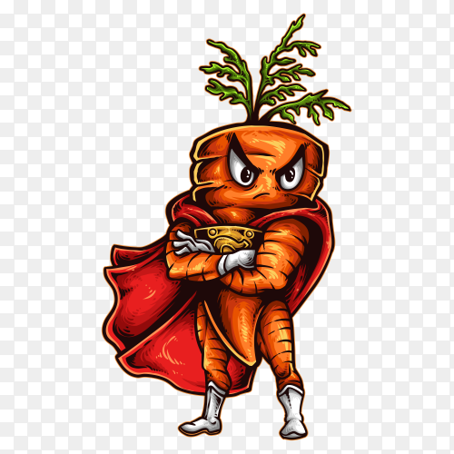 Carrot superhero PNG