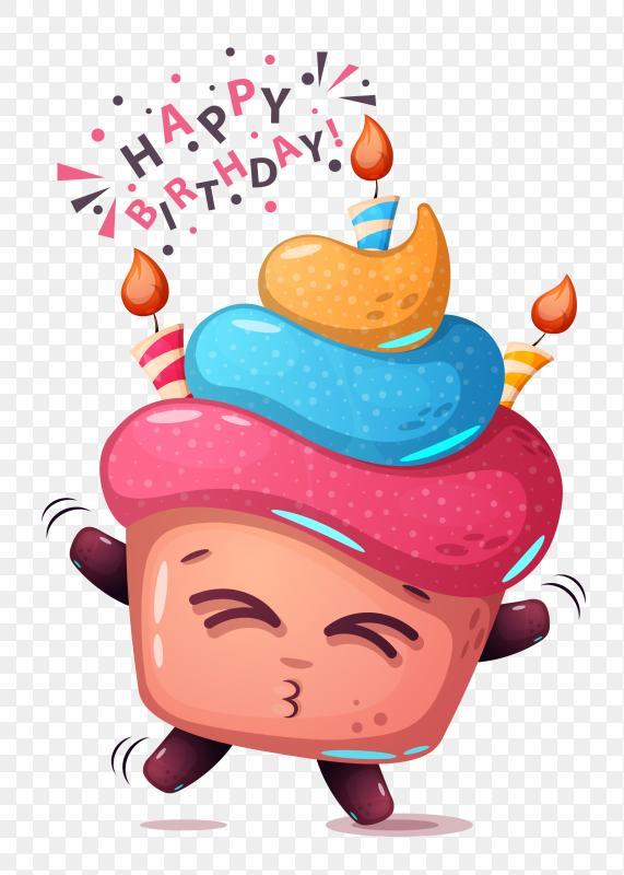 Cartoon happy birthday cake with 3 candle PNG