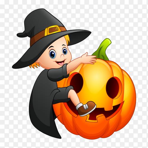 Cartoon little witch with a pumpkin PNG